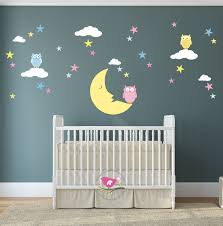 magical moon owl and stars wall decal wall stickers nursery baby magical moon owl and stars wall decal wall stickers nursery baby decor gender neutral shower gifts