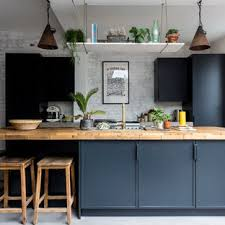 houzz blue kitchen cabinets 75 beautiful industrial kitchen with blue cabinets pictures