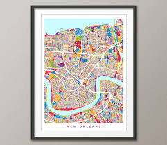 Map New Orleans by New Orleans Map New Orleans Louisiana City Street Map Art