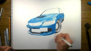 mitsubishi lancer drawing how to drawing mitsubishi lancer evo 9 youtube