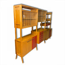 mid century modern beech unit shelf system by f jirak for tatra