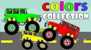 kids monster truck videos learning colors songs collection colors with monster trucks