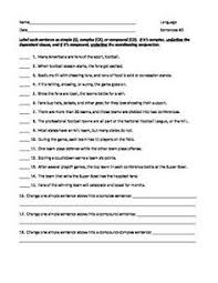 identify sentence pattern english grammar complex or simple sentence worksheet englishlinx com board