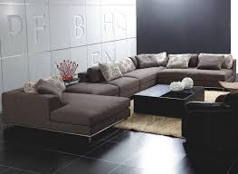 Sofa Set U Shape U Shape Mocca Canvas Sectional Sofa With Stainless Steel Based