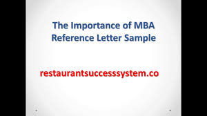 the importance of mba reference letter sample youtube
