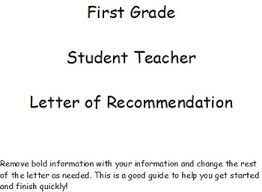 first grade student teacher letter of recommendation by natalie