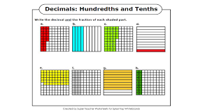 super teacher worksheets decimals hundredths and tenths answers