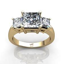 princess cut 3 engagement rings 14kt yellow gold three princess cut ring union