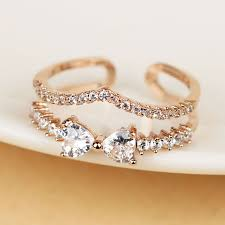 v shaped ring zircon gold color v shaped ring layer ring