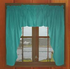 Solid Color Valances For Windows Solid Teal Colored Swag Window Valance Optional Center Piece