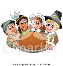 of happy pilgrims and indians a thanksgiving feast