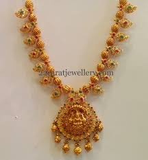 golden necklace designs images Gold necklace with paisley design jewellery designs JPG