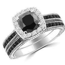 black diamond bridal set 2 15ct cushion cut black diamond halo engagement ring set