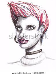 woman portrait pencil drawing black lines stock vector 381721885