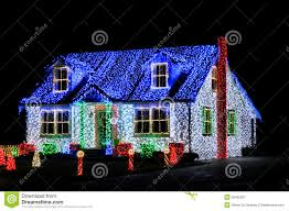 lights show display on house at stock image