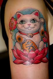 tattoo cat neko color arm asian cat rtattoos tattoos it s so fluffy