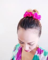 flower hair bun hot pink adjustable bun wrap bun crown hair bun