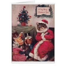 vintage cat christmas cards u0026 invitations zazzle co uk