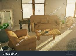 brown sofa armchair country style interior stock illustration
