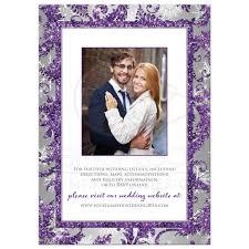 Wedding Invitations Purple Winter Wonderland Photo Wedding Invitation Purple Silver White