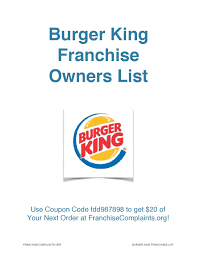 Palm Beach Tan Prattville Al Burger King Franchise Owners List By Franchisecomplaints Org Issuu