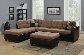 Leather And Suede Sectional Sofa 2 Pc Mallory Collection 2 Tone Microfiber Fabric And Leather