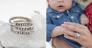 stackable engraved mothers rings stacking name rings by leonard designs