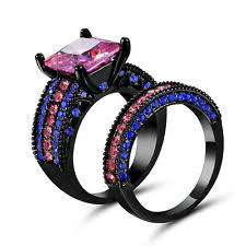 black and pink engagement rings pink black ring ebay