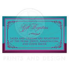 marriage gift registry wedding gift registry enclosure card printed ribbon jewels