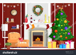 interior design gifts colorful vector christmas room interior design stock vector