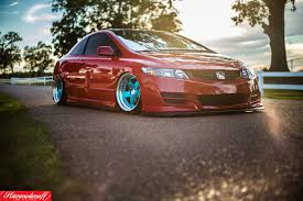 honda stance jdm red honda civic with nice stance and blue rims u2014 carid com gallery