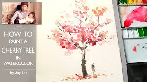 how to paint a cherry tree in watercolor painting trees youtube