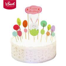 home cake decorating supply cartoon cute rabbit tree happy birthday cake decorations for