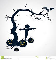 silhouettes of scarecrow pumpkins bat and tree halloween symbol