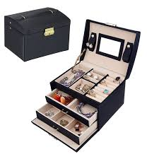necklace gift case images Eecoo 3 layer travel jewelry case lockable jewelry box leather png
