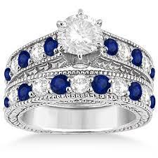 sapphire wedding ring antique sapphire bridal ring set 14k white gold 2 87ct