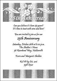 25th wedding anniversary invitations silver wedding anniversary invites 7235cs an