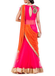 Fish Style Saree Draping Anju Agarwal Watermelon Pink Fish Cut Saree Gown Shop Sarees