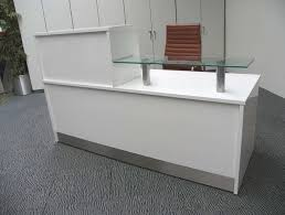 Small White Reception Desk by Grey Carpet With Small Ikea Reception Desk With Brown Leather
