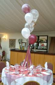 tablecloth ideas for round table white maroon balloons with pink ribbon placed on the middle round