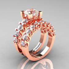 Rose Gold Wedding Ring Sets by Modern Vintage 14k Rose Gold 3 0 Carat Morganite White Sapphire