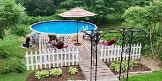 Backyard Above Ground Pool by Pool Deck Ideas Partial Deck The Pool Factory
