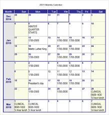 sample weekly calendar 16 documents in word excel pdf