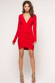 memdalet long sleeve deep v neck red party dress red surplice