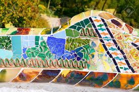 Serpentine Bench Barcelona Park Guell Of Gaudi Tiles Mosaic Serpentine Bench
