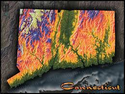 Map Of Connecticut Towns Connecticut Map Colorful Topography Of Physical Features