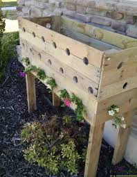 pallet planter box for cascading flowers her tool belt