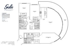 great room floor plans gale ft lauderdale 3 bedroom plus great room