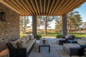 Hamptons Style Outdoor Furniture by Cement Walk Out Patio On Lower Level Of Family Room With Outdoor