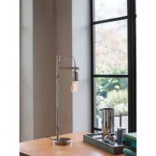 urban chic table lamp or desk light polished nickel with exposed bulb
